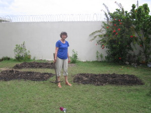 Amanda in front of the finished garden